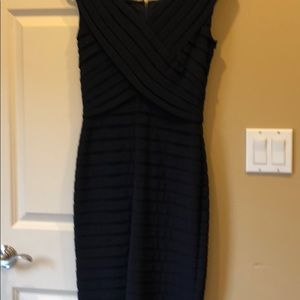 Adrianna Papell navy blue pleated dress